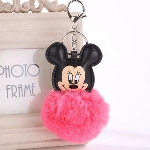 Mickey Bright Pink Pom Pom Keychain